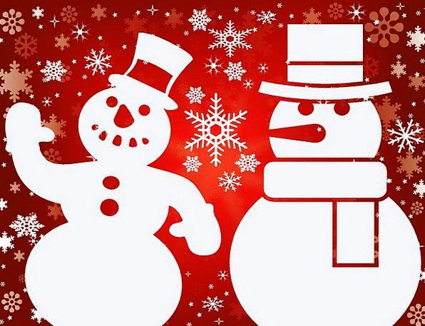 Snowmen Snows Winter Season Snowflakes Cut-Out Sil