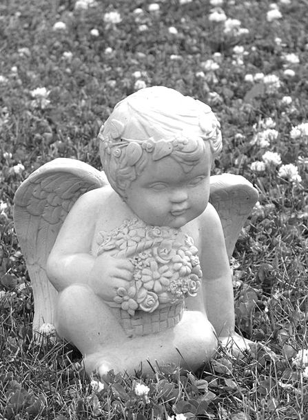 Cherub Angel Flowers Plants Ornament Stone Pebble