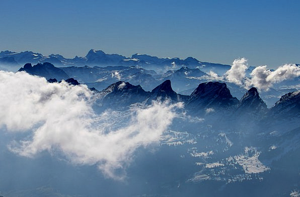 Alpstein Crags Panorama View Mountains Swiss Alps