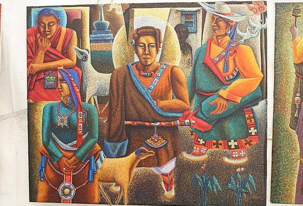 Tibetan Monks Painting Image Samchung Tibetan Budd