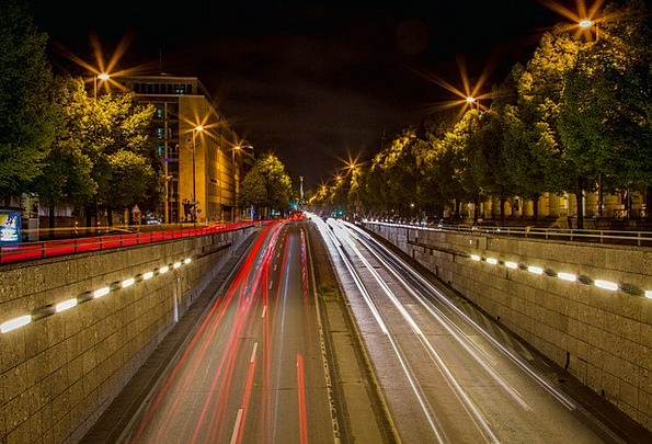 Munich Night Traffic Street Transportation Autos C