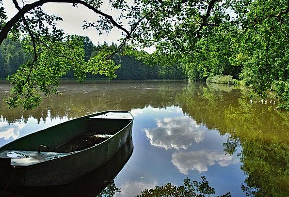 Pond Pool Aquatic Rowboat Water South Bohemia Summ
