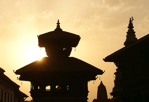 Kathmandu Evening Twilight Nepal Temple Shrine Sun