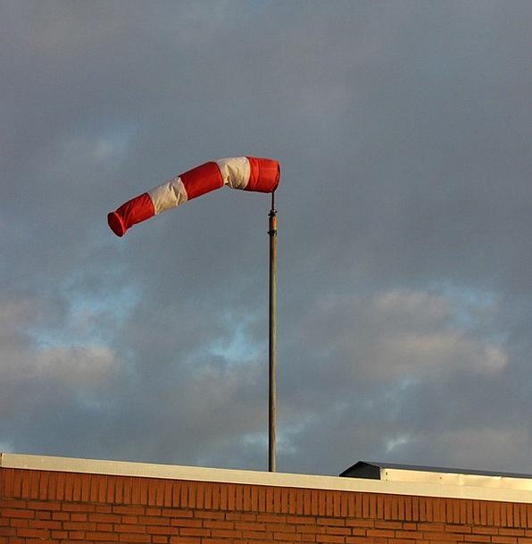 Wind Sock Bloodshot White Snowy Red Sky Blue Weath