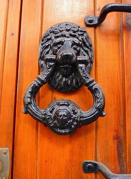 Door Entrance Lion Head Thumper Iron Firm Wood Han