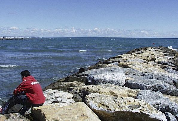 Spain Coast Shore Marbella Rocks Pillars Water Med