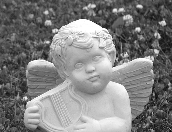 Cherub Angel Harp Ornament Stone Pebble Decoration