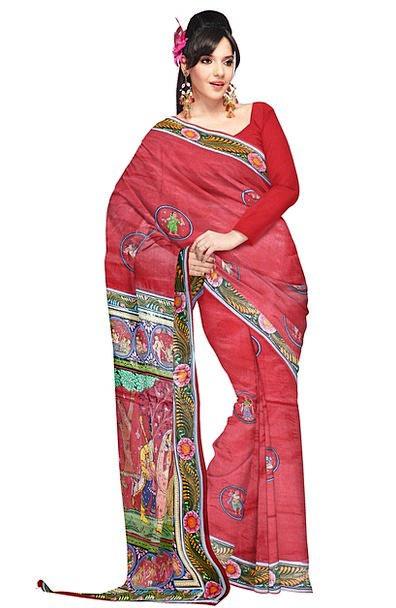 Sari Fashion Bloodshot Beauty Woman Lady Red Cotto