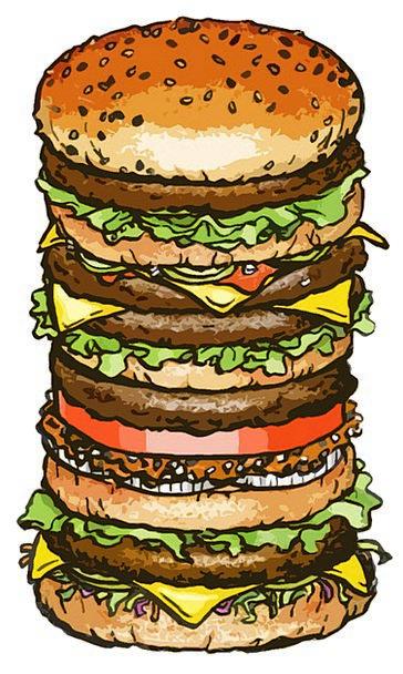 Hamburger Drink Large Food Size Scope Big Lunch Ea