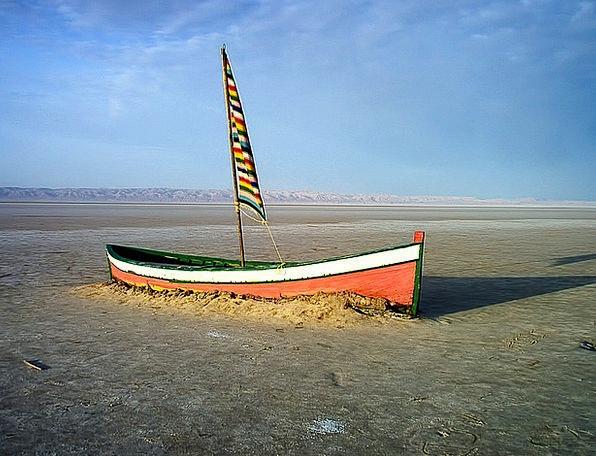 Boat Ship Dry Thirsty Salt Lake Tunisia Sun The Re