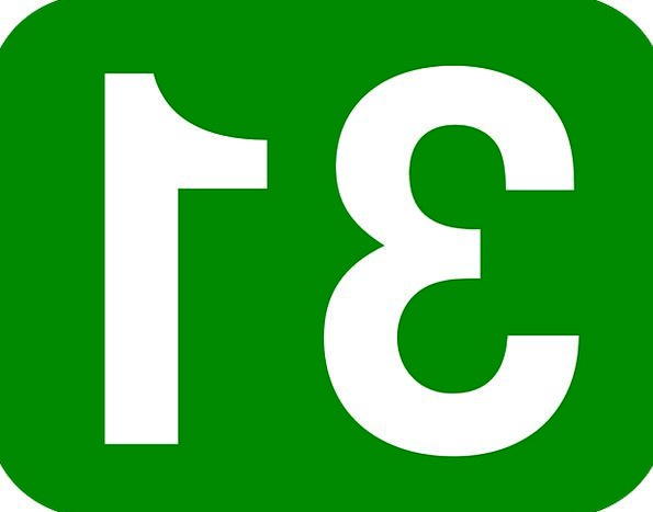 Rectangle Box Round Number Amount Rounded 31 Green