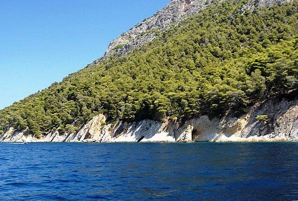 Sea Marine Pillar Blue Azure Rock Coastline Shorel