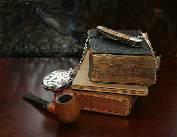 Books Records Timepiece Knife Blade Watch Pipe Tub