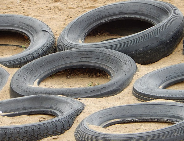 Tires Exhausts Park Sand Shingle Playground Rubber