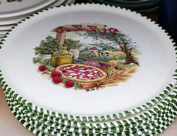 Plate Bowl Italian Pizza Plate Ceramic Earthenware & Pizza Plate | PixCove