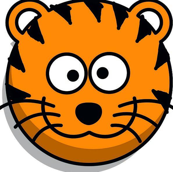 Tiger Skull Grin Beam Head Cartoon Animation Wildl