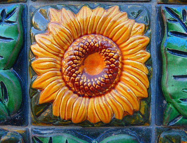 Sun Flower Inlay Tiles Slates Tile Ceramic Earthen
