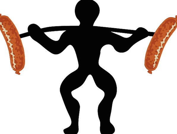 Weightlifting Witticism Sausage Joke Silhouette Ou