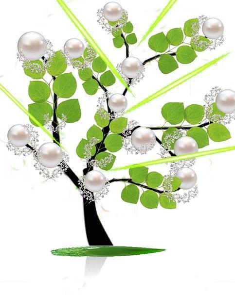 Tree Sapling Gems Imaginary Fantasy Pearls