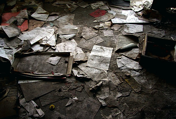 Lost Place Crushed Dirty Dull Ground Paper Newspap
