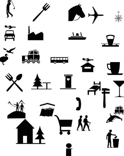 Icons Images Vacation Ciphers Travel Signs Symbols Eating