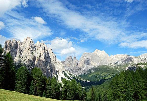 Dolomites Landscapes Crag Nature Trees Plants Moun