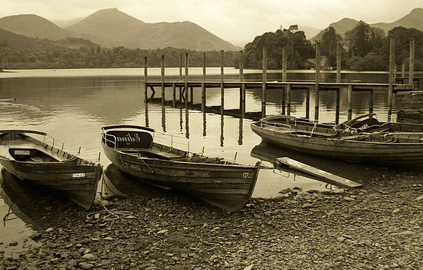 Sepia Ships Lake Freshwater Boats Mountains Crags