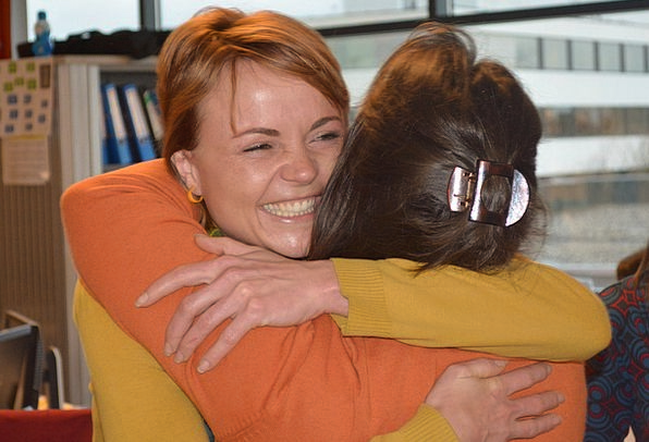 People Public Embrace Farewell Sendoff Hug Friends