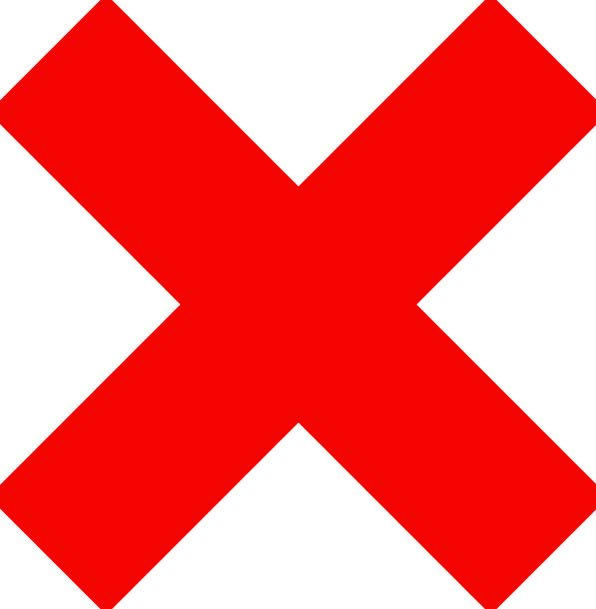 X Bloodshot Mark Spot Red Incorrect Improper Free