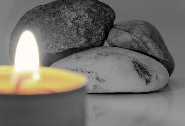 Candle Taper Gravels Black And White Stones Flame