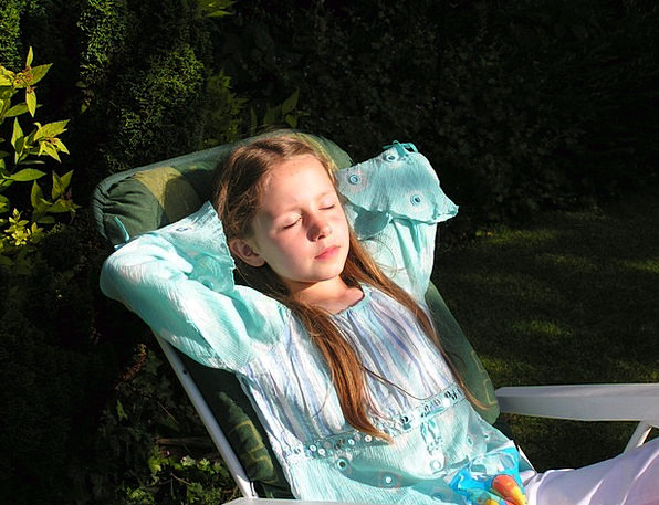 Girl Lassie Youngster Relaxing Calming Child Sitti