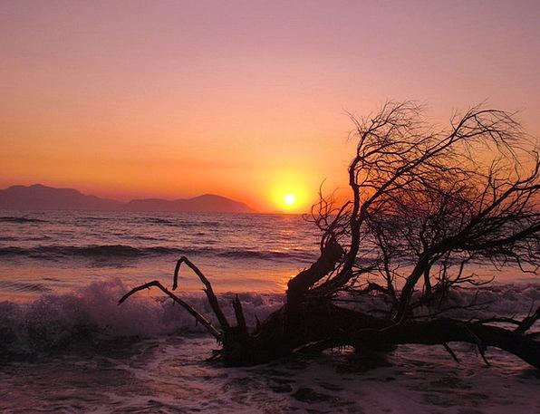 Beach Seashore Vacation Sundown Travel Afterglow W
