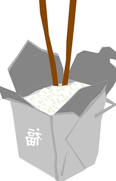 Box Container Rice Chinese Fast Food Sticks Grey F