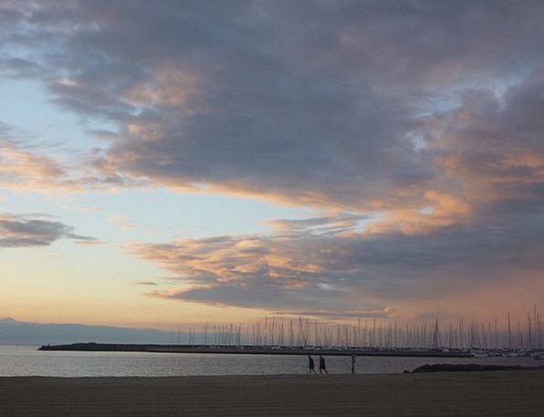 Tranquil Sunset Flushed Mauve Lilac Pink Blue Azur