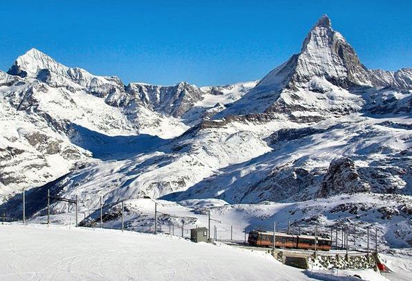 Gornergrat Mountains Crags Matterhorn Wintry Snow
