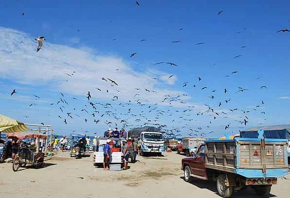 Puerto Lopez Sky Blue Ecuador Fisherman Clouds Vap