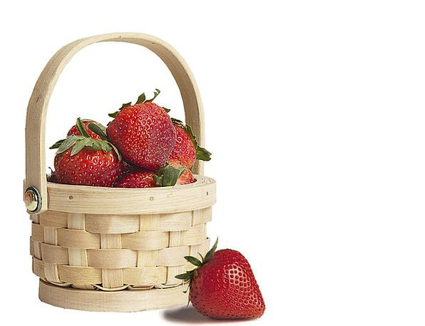 Basket Bag Drink Food Straw Grass Strawberries Fru