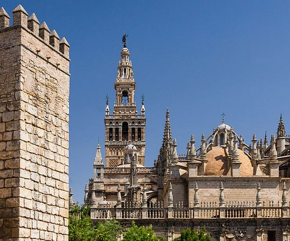 Seville Real Alcazar Spain Sky Cathedral Scenic Ch