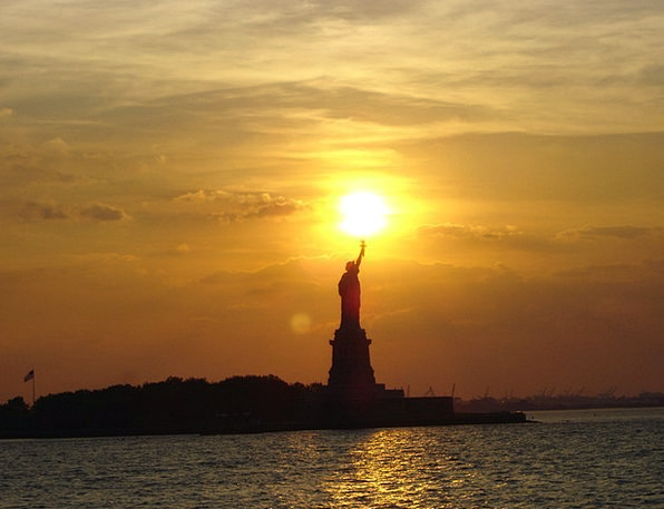 Statue Of Liberty Vacation Travel Sunset Sundown N