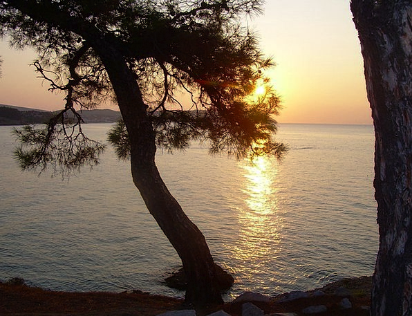 Greece Vacation Travel Sunset Sundown Thassos