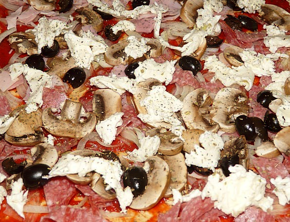 Pizza Topping Drink Food Mushrooms Burgeons Pizza
