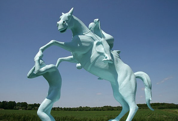 Horse Mount Azure Art Painting Blue