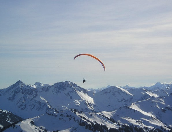 Mountains Crags Fly Hover Paragliding Paraglider W