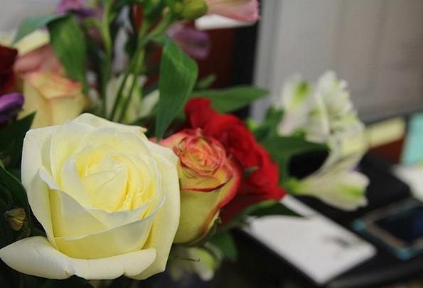 Flower Floret Design Vase Urn Rose Arrangement Bun
