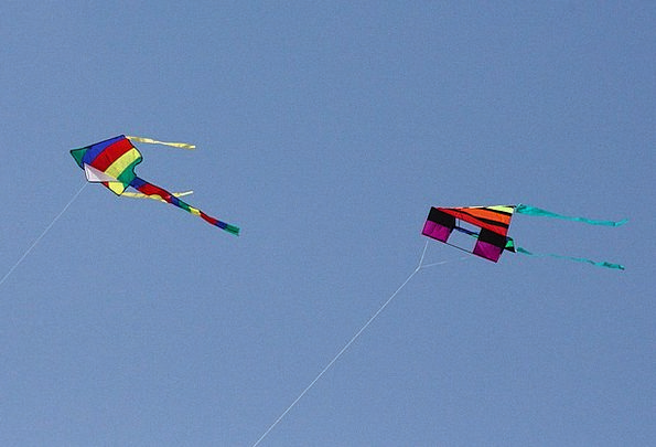 Kite Flying Hovering Colourful Sky Blue Leisure Ac