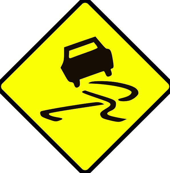 Sign Symbol Slippery Greasy Road Sign Free Vector