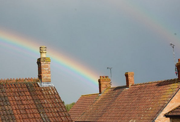 Rainbow Multicolored Rooftop Chimney Funnel Roof S