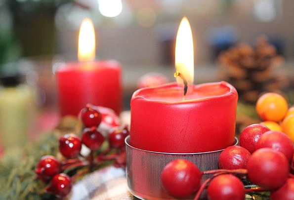 Advent Wreath Taper Red Bloodshot Candle Flame Bla