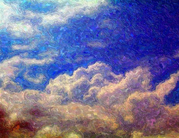 Painting Image Blue Clouds Vapors Sky Sunny White