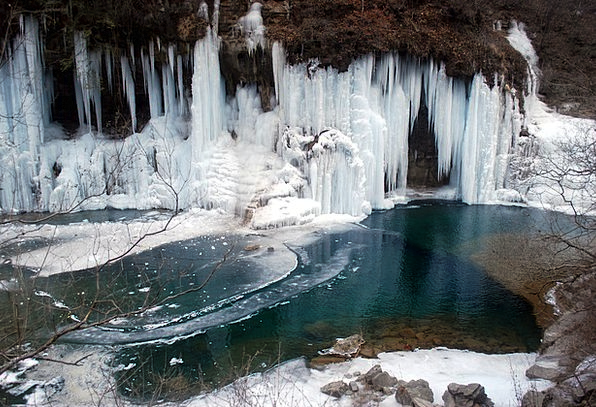 Ice Frost Landscapes Pool Nature Mountain Crag Pon